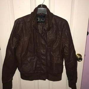 DEB Brown Faux Leather Jacket